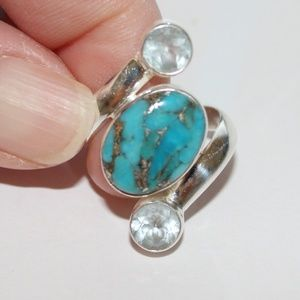 Sterling silver ring turquoise stone sz.6